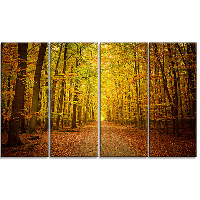 Designart Pathway In Green Autumn Forest Photography Canvas Art Print - 4 Panels
