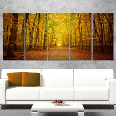 Designart Pathway In Green Autumn Forest Photography Canvas Art Print - 5 Panels