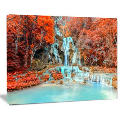 Design Art Rainforest Waterfall Loas Landscape Photography Canvas Print