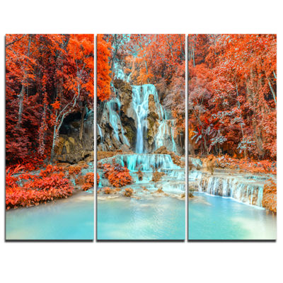 Designart Rainforest Waterfall Loas Landscape Photography Canvas Print - 3 Panels
