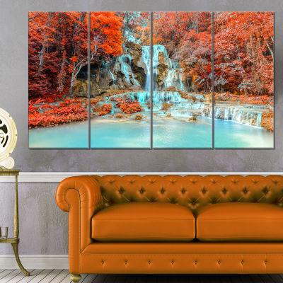 Designart Rainforest Waterfall Loas Landscape Photography Canvas Print - 4 Panels