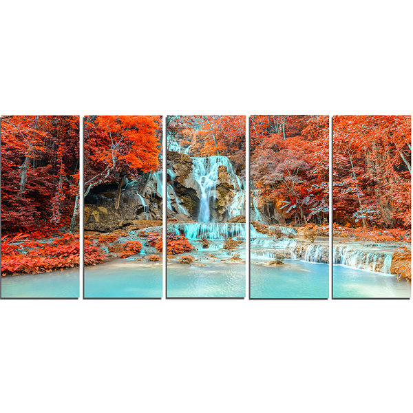Design Art Rainforest Waterfall Loas Landscape Photography Canvas Print - 5 Panels