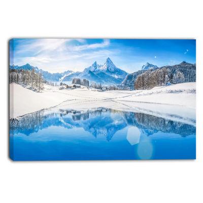 Designart Winter Mountain Lake In Alps Landscape Photography Canvas Print