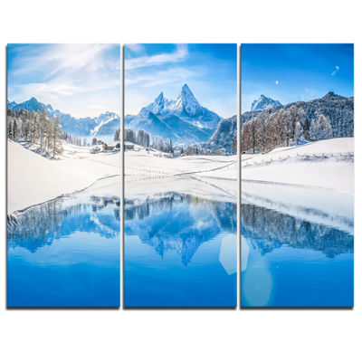 Designart Winter Mountain Lake In Alps LandscapePhotography Canvas Print - 3 Panels
