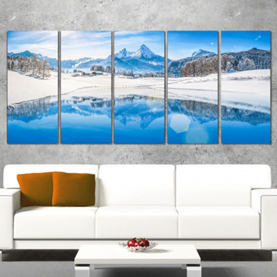 Designart Winter Mountain Lake In Alps Landscape Photography Canvas Print - 5 Panels