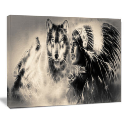 Designart Indian Warrior With Wolves Abstract Print On Canvas