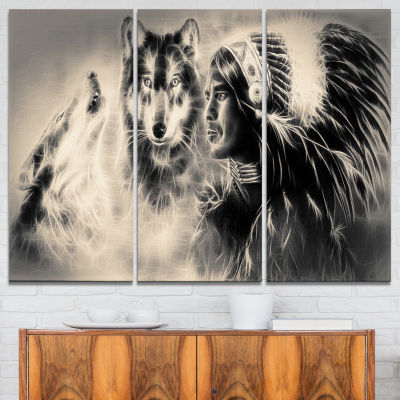 Design Art Indian Warrior With Wolves Abstract Print On Canvas - 3 Panels