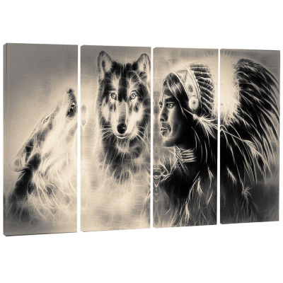 Designart Indian Warrior With Wolves Abstract Print On Canvas - 4 Panels