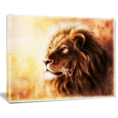Designart Brown Lion Fractal Animal Canvas Art Print