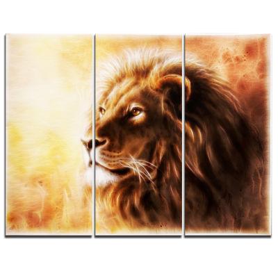 Design Art Brown Lion Fractal Animal Canvas Art Print - 3 Panels