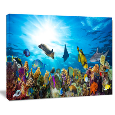 Design Art Colorful Coral Reef With Fishes Seascape Canvas Art Print