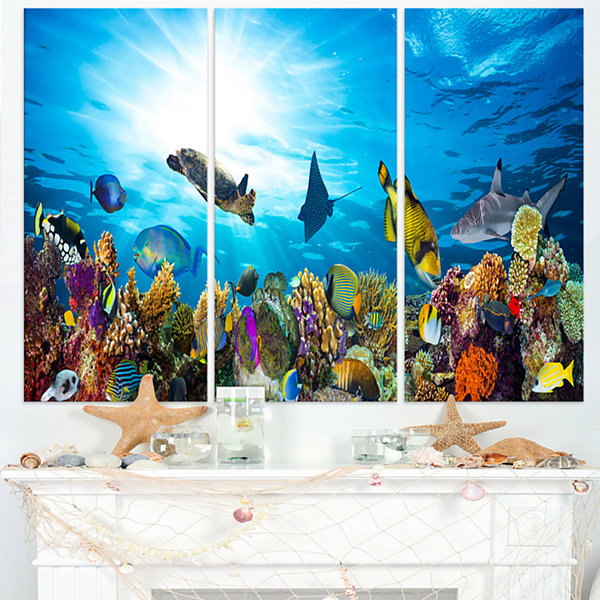 Designart Colorful Coral Reef With Fishes SeascapeCanvas Art Print - 3 Panels