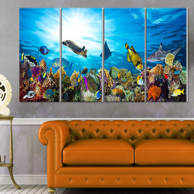 Designart Colorful Coral Reef With Fishes SeascapeCanvas Art Print - 4 Panels