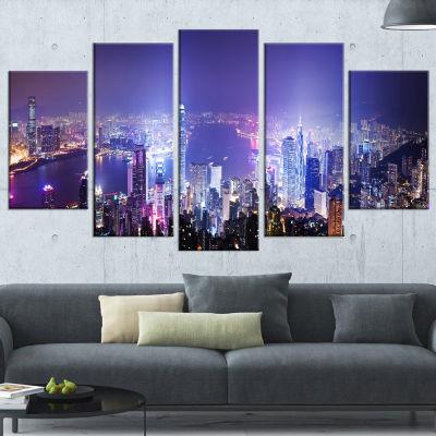 Designart Hong Kong Night City (373) Cityscape Photo Canvas Art Print - 5 Panels
