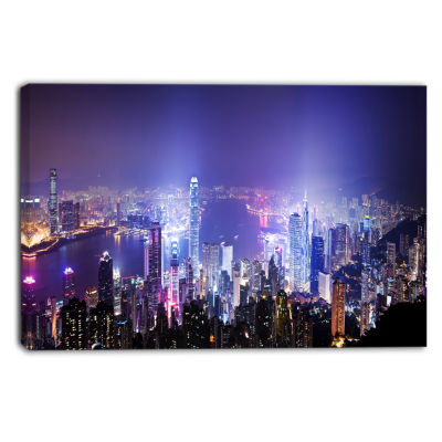 Designart Hong Kong Night City Cityscape Photo Canvas Art Print