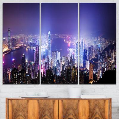 Designart Hong Kong Night City Cityscape Photo Canvas Art Print - 3 Panels