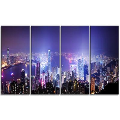 Designart Hong Kong Night City Cityscape Photo Canvas Art Print - 4 Panels