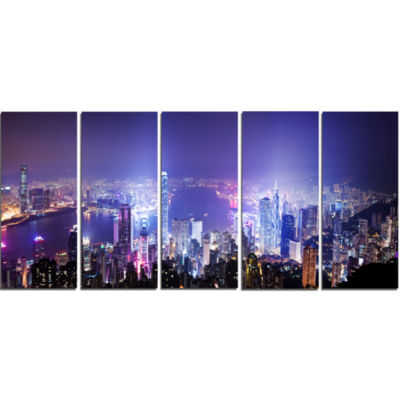 Design Art Hong Kong Night City Cityscape Photo Canvas Art Print - 5 Panels