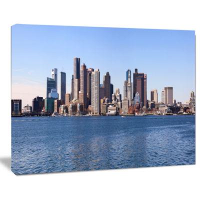 Designart Boston Skyline Panorama Cityscape PhotoCanvas Art Print