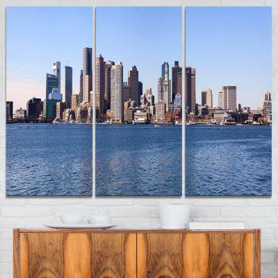 Designart Boston Skyline Panorama Cityscape PhotoCanvas Art Print - 3 Panels