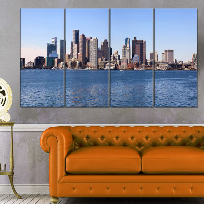 Designart Boston Skyline Panorama Cityscape PhotoCanvas Art Print - 4 Panels