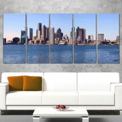 Design Art Boston Skyline Panorama Cityscape PhotoCanvas Art Print - 5 Panels