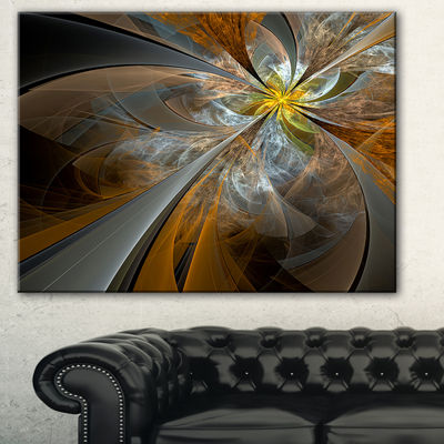 Designart Symmetrical Yellow Fractal Flower Abstract Print On Canvas