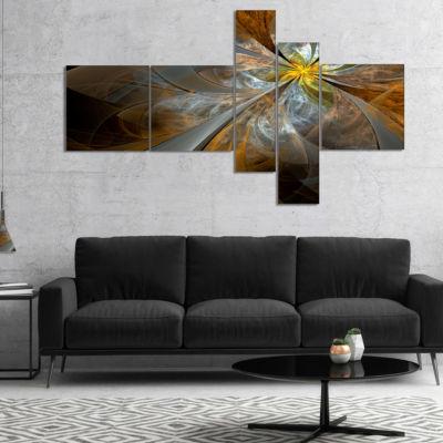 Designart Symmetrical Yellow Fractal Flower Abstract Print On Canvas - 5 Panels