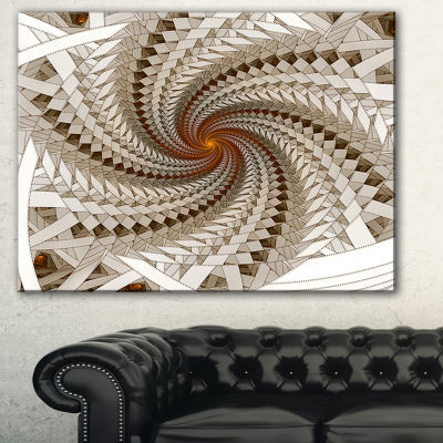 Designart White Fractal Spiral Pattern Abstract Print On Canvas
