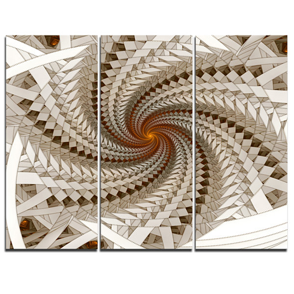 Designart White Fractal Spiral Pattern Abstract Print On Canvas - 3 Panels