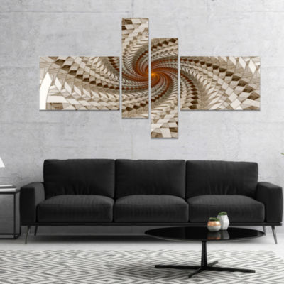 Designart White Fractal Spiral Pattern Abstract Print On Canvas - 4 Panels