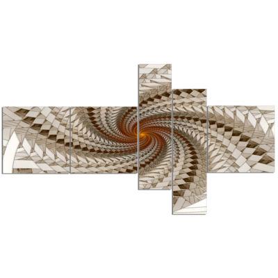 Designart White Fractal Spiral Pattern Abstract Print On Canvas - 5 Panels
