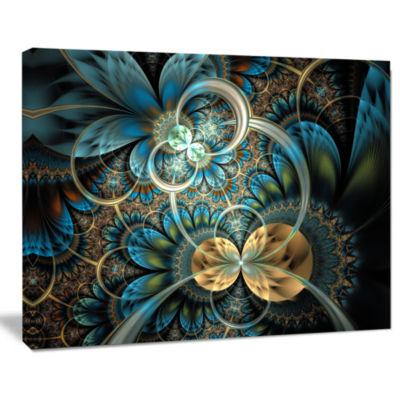 Designart Symmetrical Blue Gold Fractal Flower Abstract Print On Canvas