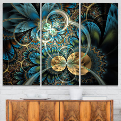 Designart Symmetrical Blue Gold Fractal Flower Abstract Print On Canvas - 3 Panels