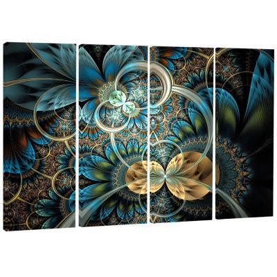 Designart Symmetrical Blue Gold Fractal Flower Abstract Print On Canvas - 4 Panels