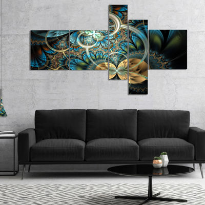 Designart Symmetrical Blue Gold Fractal Flower Abstract Print On Canvas - 5 Panels
