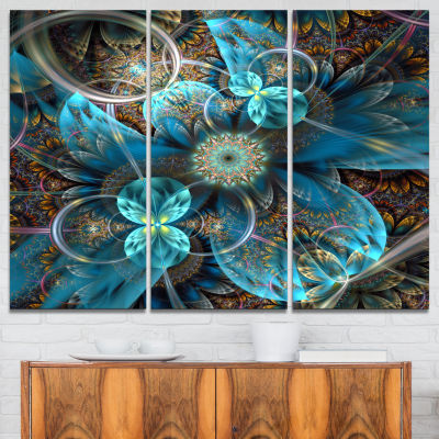 Designart Fractal Blue Flowers Art Canvas Print -3 Panels
