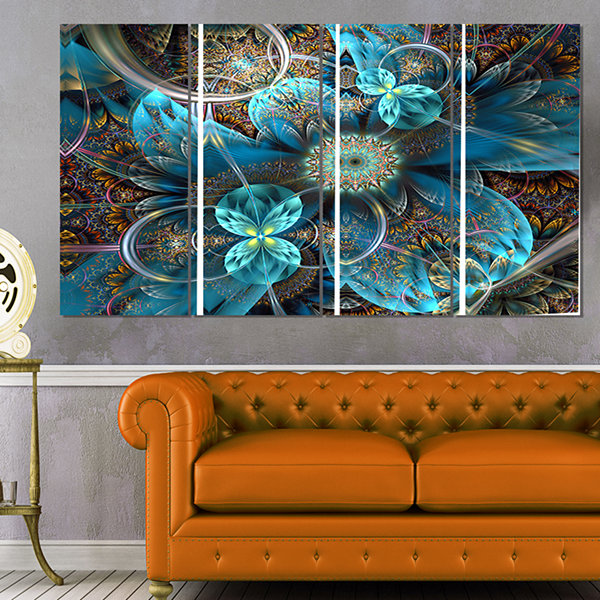 Designart Fractal Blue Flowers Art Canvas Print -4 Panels