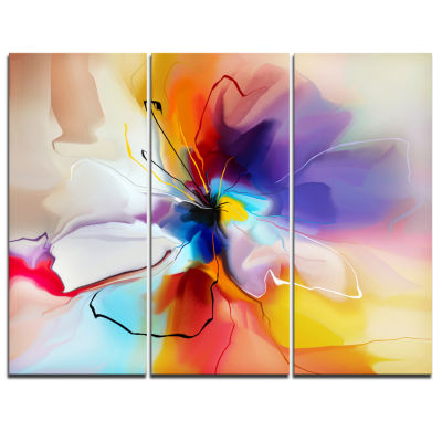 Design Art Creative Flower In Multiple Colors Canvas Art - 3 Panels
