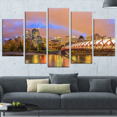 Designart Calgary At Night (373) Cityscape Photography Canvas Print - 5 Panels