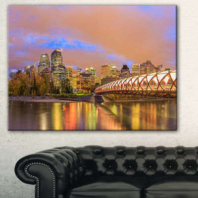 Design Art Calgary At Night Cityscape Photography Canvas Print