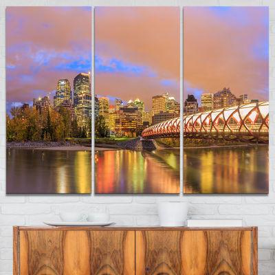 Designart Calgary At Night Cityscape PhotographyCanvas Print - 3 Panels
