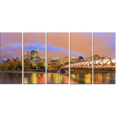Designart Calgary At Night Cityscape Photography Canvas Print - 5 Panels