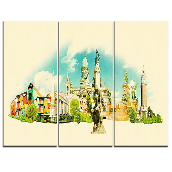 Designart Buenos Aires Panoramic View Cityscape Watercolor Canvas Print - 3 Panels