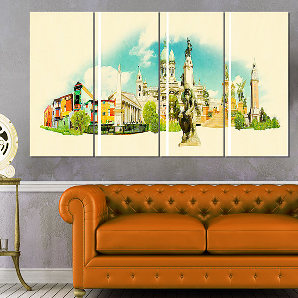 Designart Buenos Aires Panoramic View Cityscape Watercolor Canvas Print - 4 Panels