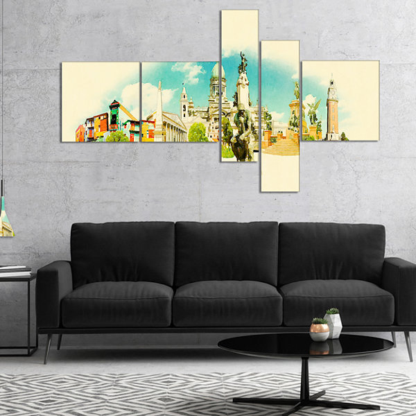Design Art Buenos Aires Panoramic View Cityscape Watercolor Canvas Print - 5 Panels