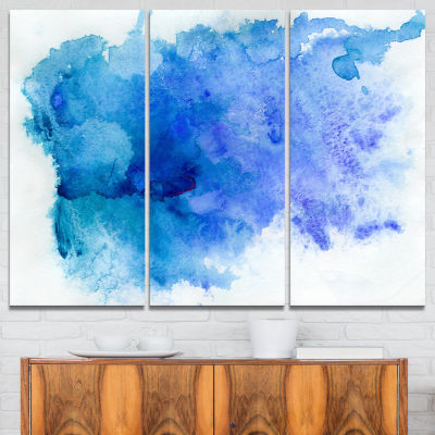 Designart Blue Watercolor Abstract Canvas Print -3Panels
