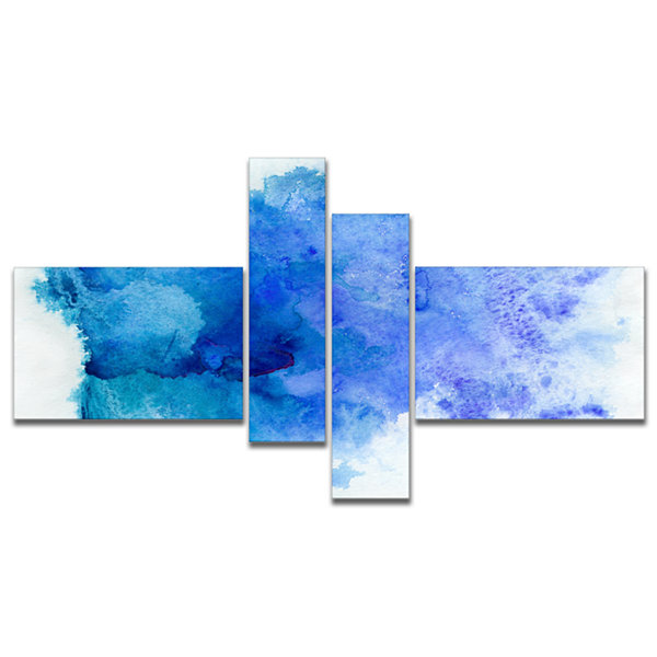 Design Art Blue Watercolor Abstract Canvas Print -4 Panels