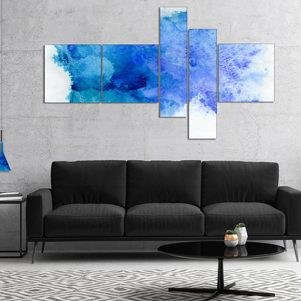 Design Art Blue Watercolor Abstract Canvas Print -5 Panels