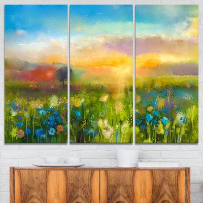 Designart Sunset Meadow Landscape Contemporary Canvas Art Print - 3 Panels